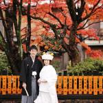 紅葉の季節の和装前撮り