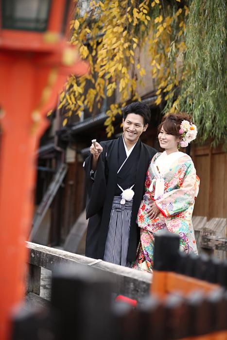 京都祇園の辰巳橋での前撮り