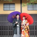 番傘を使って京都で前撮り