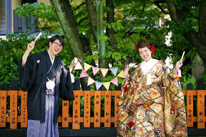 手作りガーランドを使用した京都前撮り