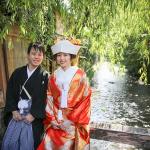 祇園で白川を背景に和装前撮り